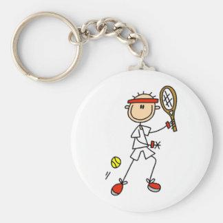 Boy Tennis Player Basic Round Button Key Ring