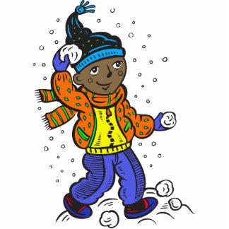 Boy Throwing Snowballs Photo Sculptures