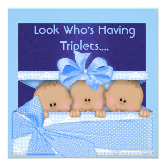 BOY TRIPLETS BABY SHOWER AFRICAN AMERICAN INVITE