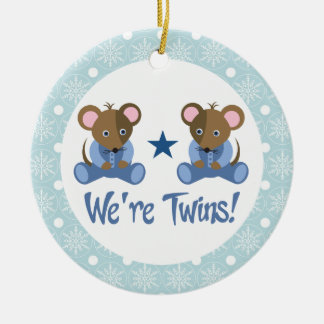 Boy Twins Baby Mice Keepsake Ornament Gift
