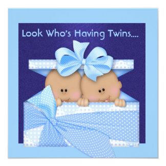 BOY TWINS BABY SHOWER AFRICAN AMERICAN INVITATION