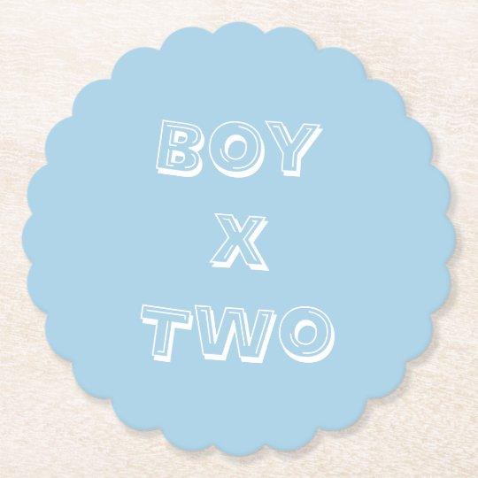 Boy Twins Baby Shower Powder Blue Paper Coaster