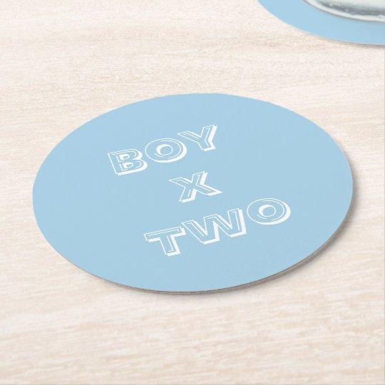 Boy Twins Baby Shower Powder Blue Round Paper