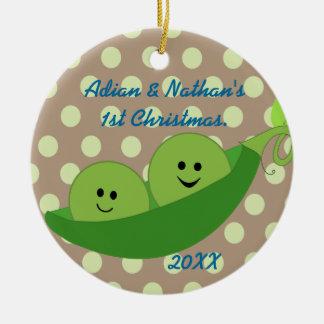 Boy Twins First Christmas Ornament
