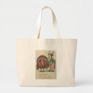 Boy Uncle Sam Thanksgiving Turkey Jumbo Tote Bag