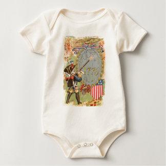 Boy US Flag Fireworks 4th of July Baby Bodysuit