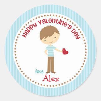 Boy Valentine Stickers (Blue) - Children Kids