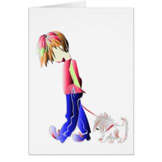Boy walking cute dog digital art card