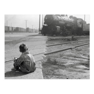 Boy Watching Trains, 1939 Postcard