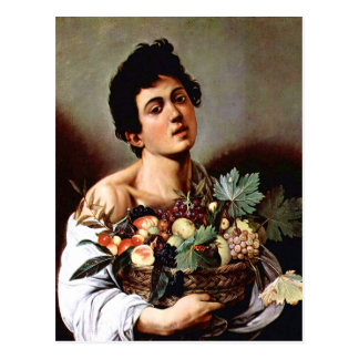 Boy with a Basket of Fruit, Caravaggio Postcard