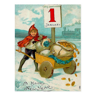Boy with a Cart -New Year Greeting Postcard