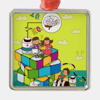 Boy with a girl sitting on a Rubik's cube puzzle Silver-Colored Square Decoration
