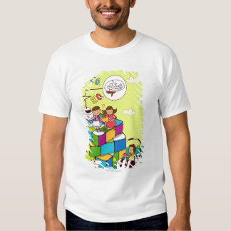 Boy with a girl sitting on a Rubik's cube puzzle Tees