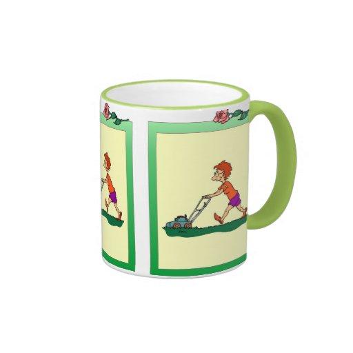 Boy with a lawnmower coffee mug