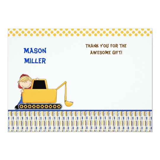 Boy with Bulldozer Thank you note Card