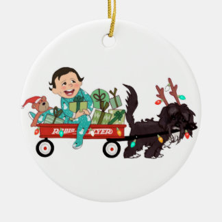 boy with dog - dark hair christmas ornament