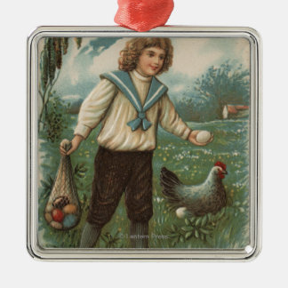Boy with Easter Egg Basket Holding Egg Christmas Ornament