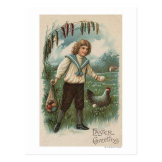 Boy with Easter Egg Basket Holding Egg Postcard