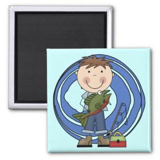 Boy With Fish Tshirts and Gifts Square Magnet
