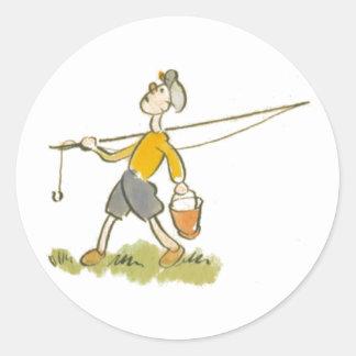 Boy with Fishing Rod Sticker