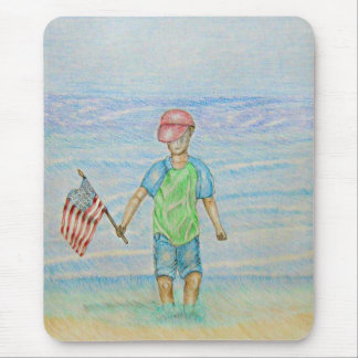 boy with flag mouse pad