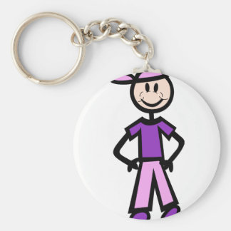Boy with hat basic round button key ring