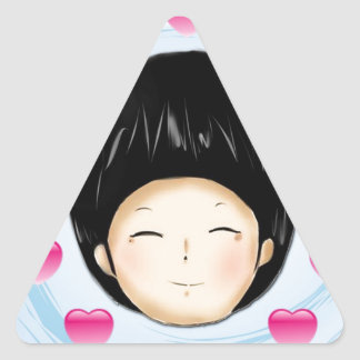 Boy with heart triangle sticker