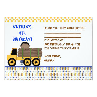 Boy with Log Carrier Truck Fill-in thank you note 13 Cm X 18 Cm Invitation Card