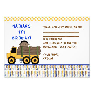 Boy with Log Carrier Truck Fill-in thank you note Invitations