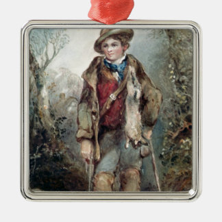 Boy with Rabbits Christmas Ornament
