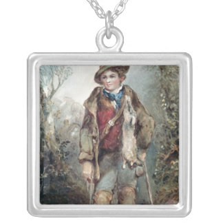 Boy with Rabbits Silver Plated Necklace