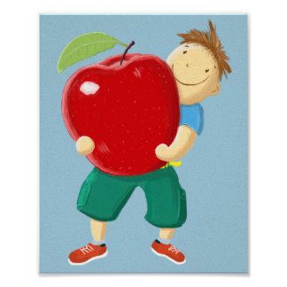 Boy with red apple for you. poster