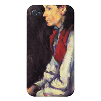 Boy with red vest painting Paul Cezanne fine art iPhone 4 Cases