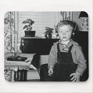 Boy With Retro Crystal Radio Set Mouse Mat