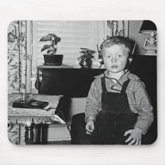 Boy With Retro Crystal Radio Set Mouse Mat