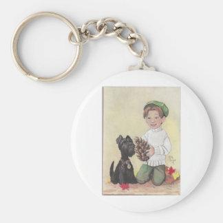 Boy with Scottie Basic Round Button Key Ring