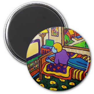 Boy with Toy 6 Cm Round Magnet