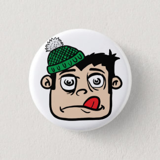 boy with winter hat 3 cm round badge