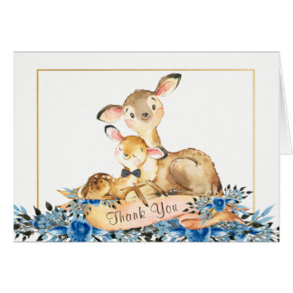 Boy Wooland Deer Baby Shower Thank You Cards