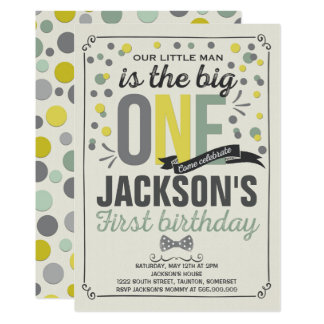 Boy Yellow and Green First Birthday Invitation
