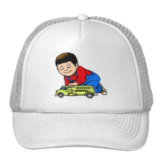Boy yellow fire truck trucker hat