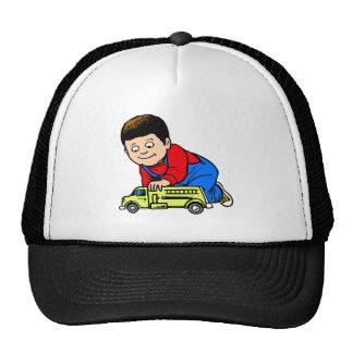Boy yellow fire truck hats