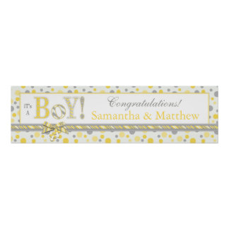 BOY Yellow Gray Dots Baby Shower Banner Poster