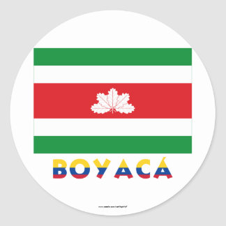 Boyacá Flag with Name Classic Round Sticker
