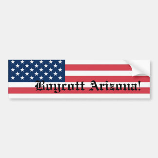Boycott Arizona with US flag Bumper Sticker