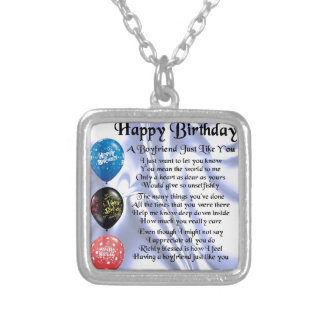 Boyfrien Poem -  Happy Birthday Silver Plated Necklace