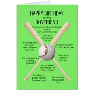 Boyfriend, birthday baseball jokes card