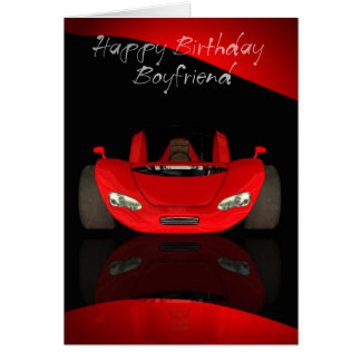 Boyfriend Birthday Card With Red Sports Car