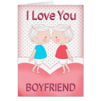 Boyfriend, Gay, Cute Kissing Couple Valentine = Card