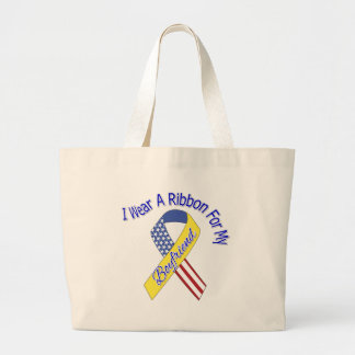Boyfriend - I Wear A Ribbon Military Patriotic Jumbo Tote Bag